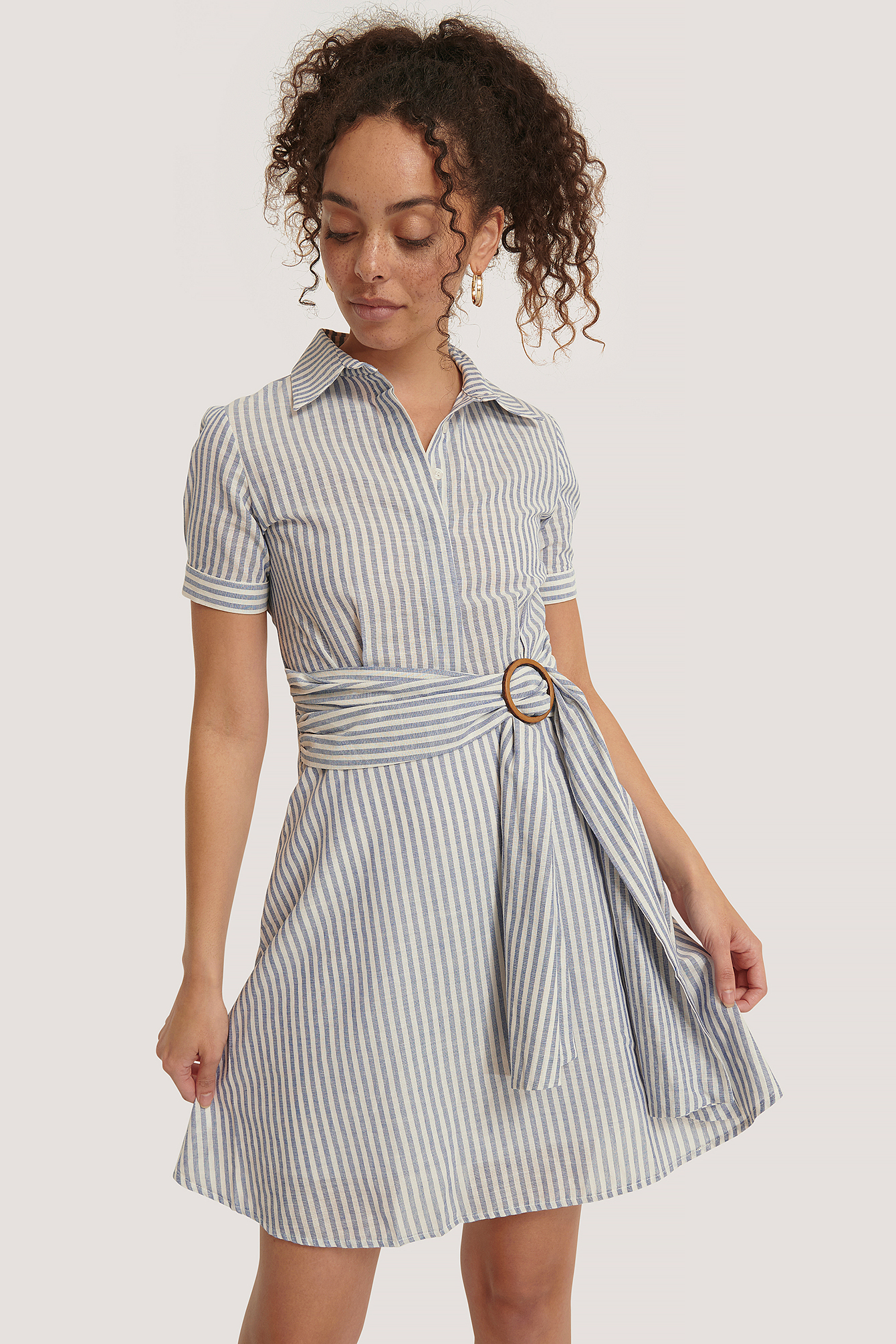 Indigo Belt Detailed Mini Dress