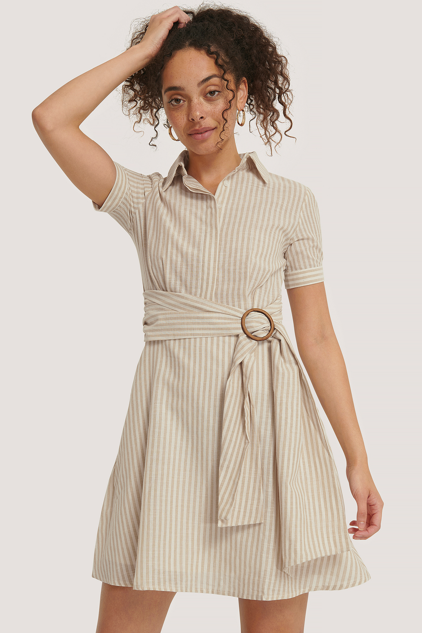 Cream Belt Detailed Mini Dress