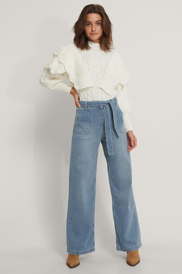 Belted Wide Jeans Indigo
