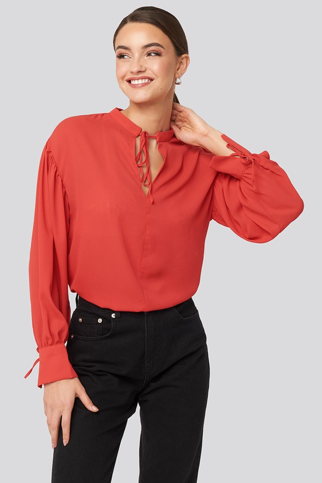 Red Binding Detailed Blouse