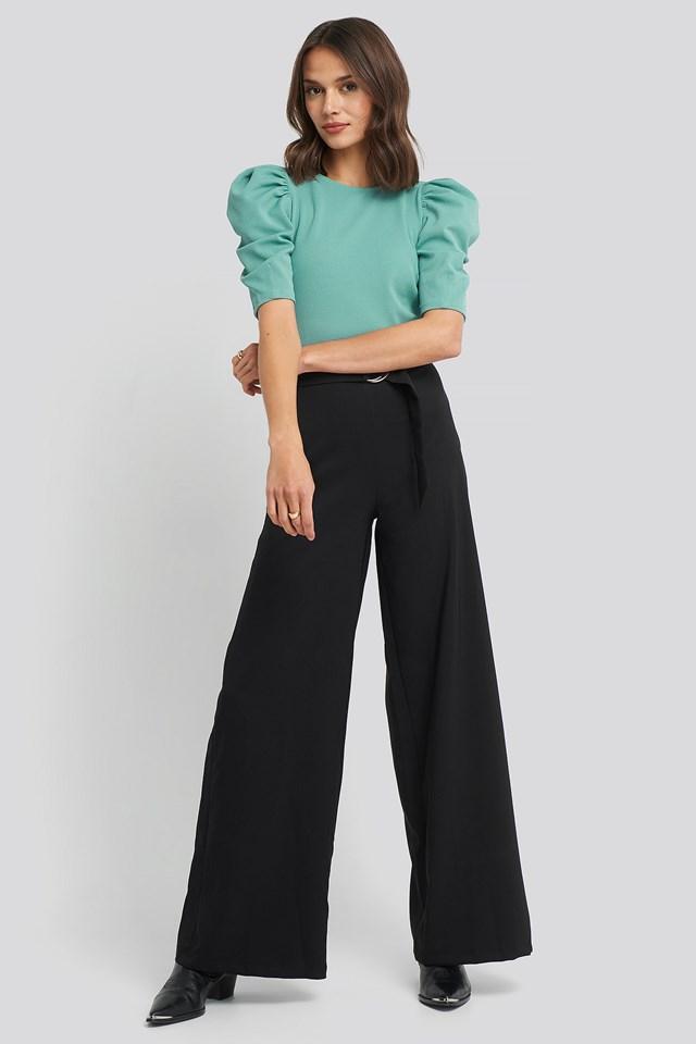 Binding Detailed Pants Black