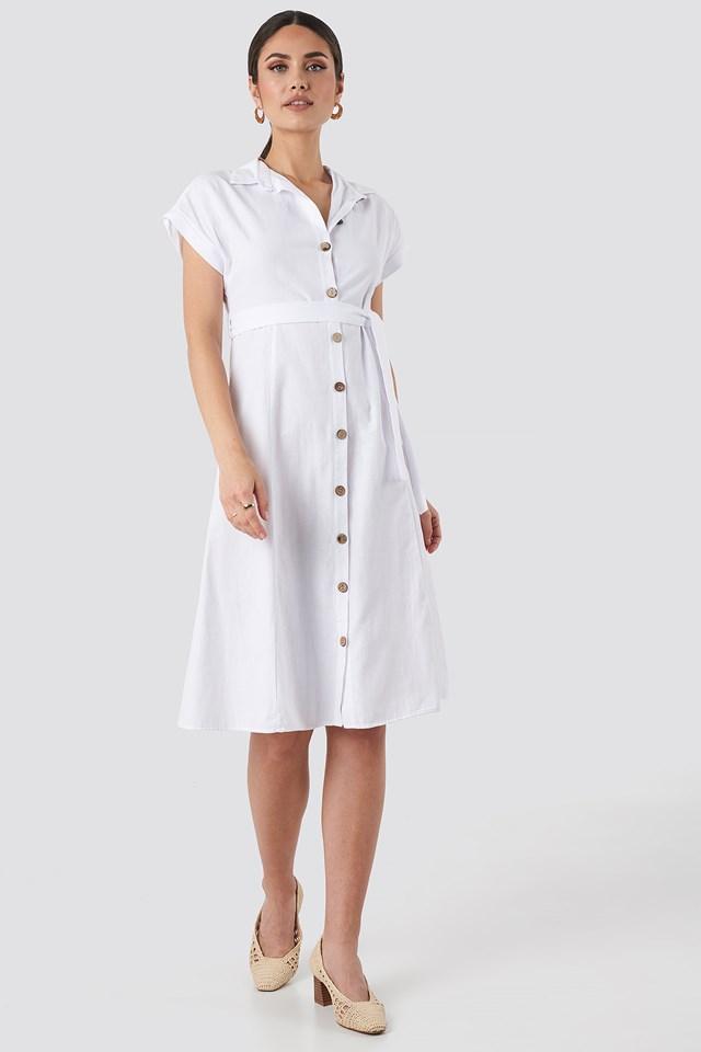 White Sukienka Zapinana Na Guziki