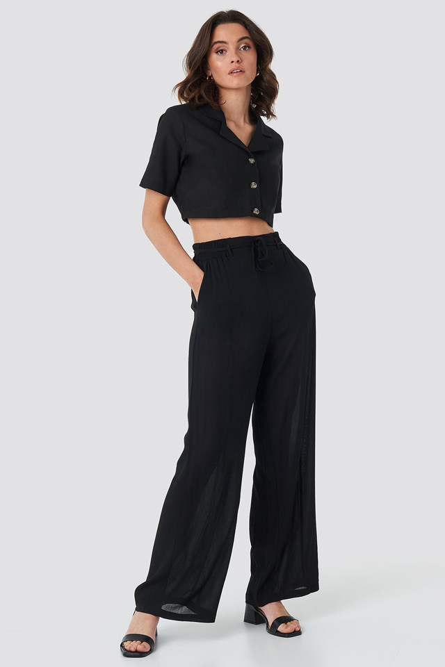 Binding Wide Pants Black