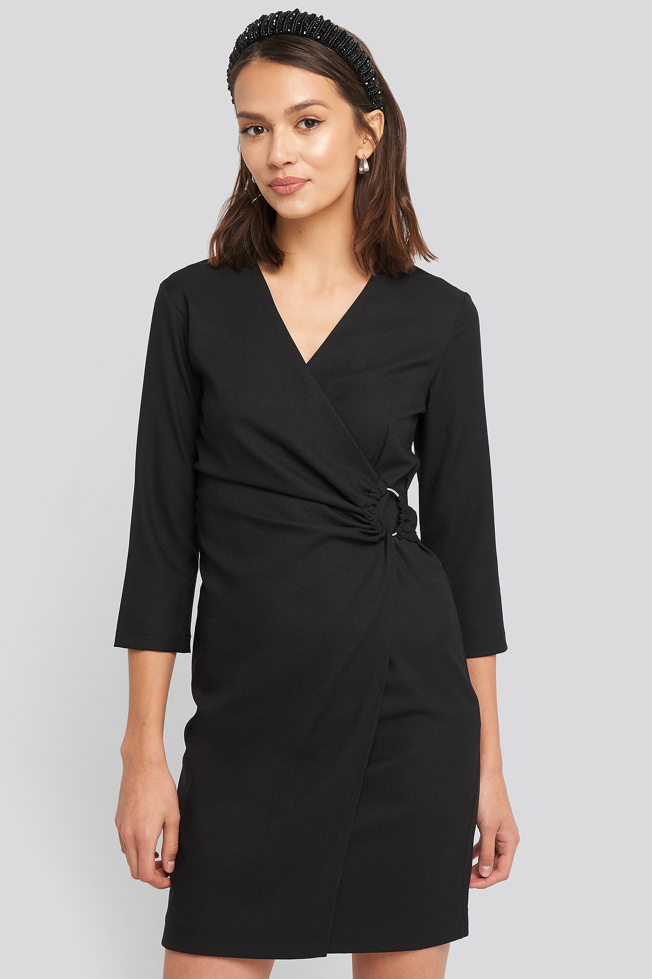 Black Buckle Detailed Mini Dress