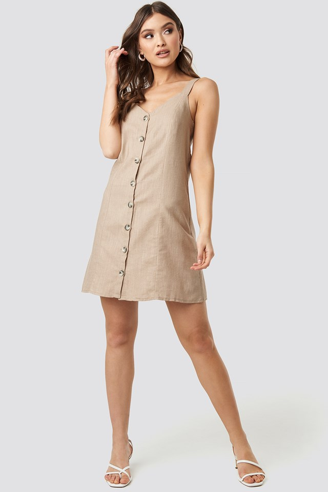 Button Detail Mini Dress Camel