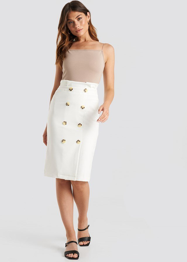 Button Midi Skirt White