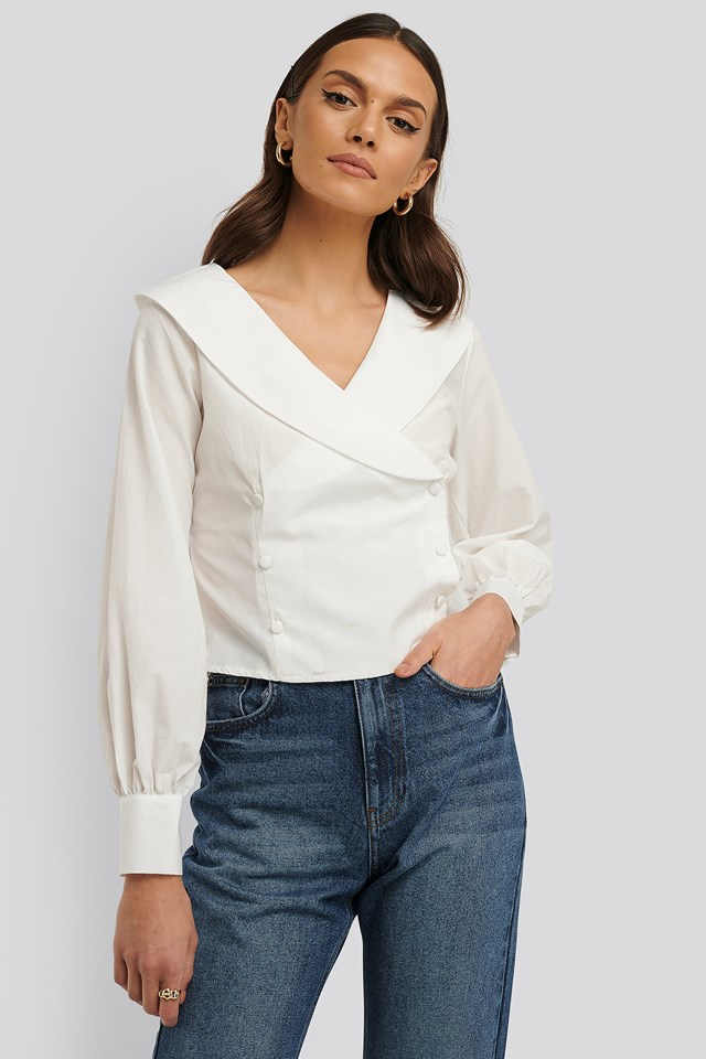Buttoned Detailed Blouse Ecru