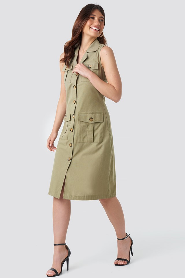 Buttoned Linen Dress Green