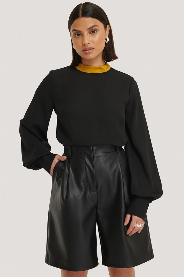 Collar Detailed Blouse Black