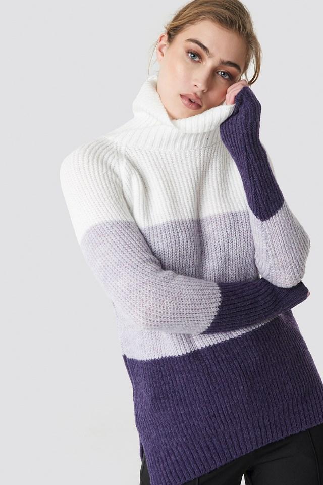 Ecru Color Blocked High Neck Sweater