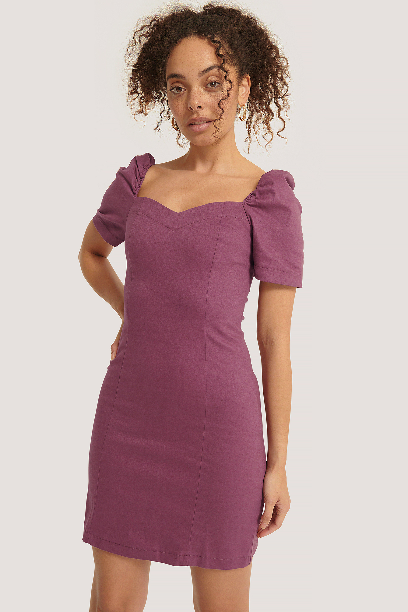 Damson Deep Round Neck Mini Dress