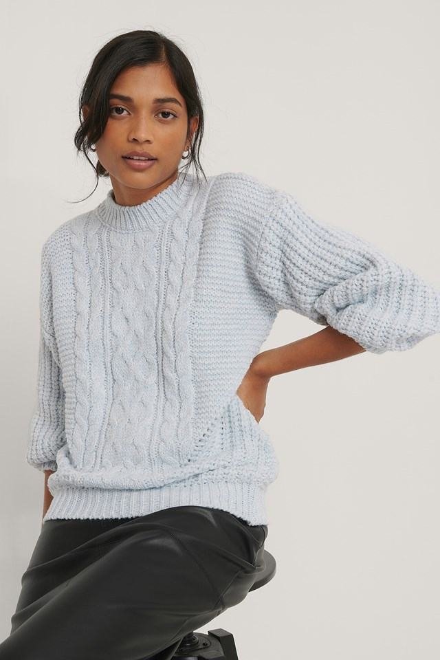 Blue Detail Knit Sweater