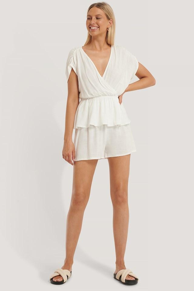White Double Breasted Pyjamas Set