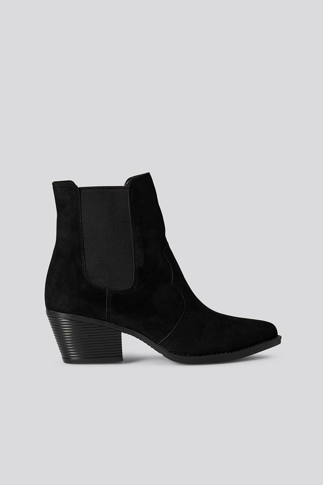 Faux Suede Ankle Boots Black