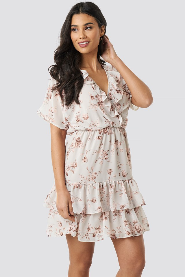 Cream Floral Patterned Mini Dress