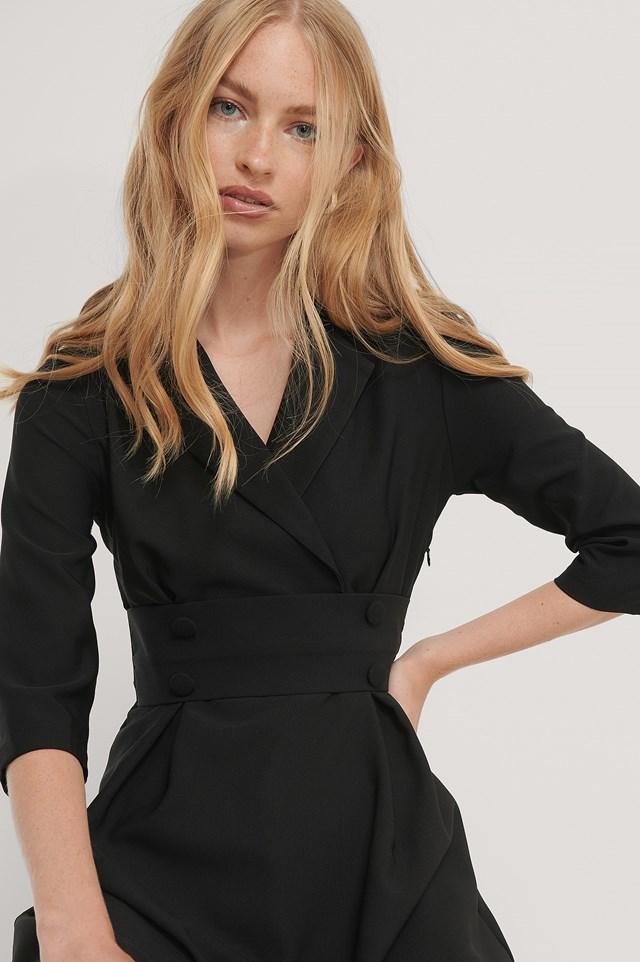 Front Button Detailed Mini Dress Black