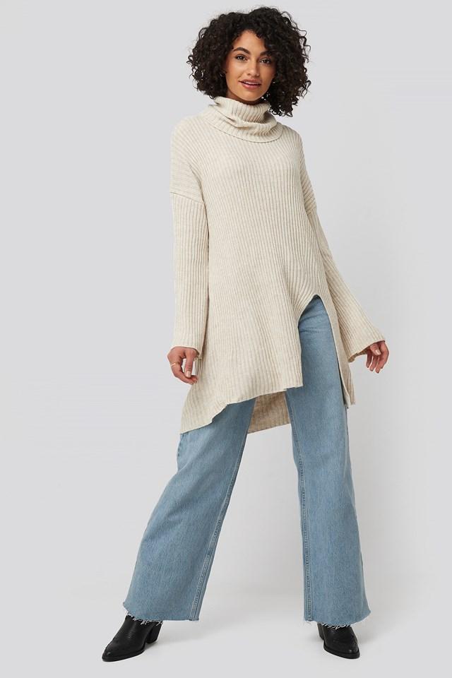 Beige Front Slit Turtleneck Knitted Tunic