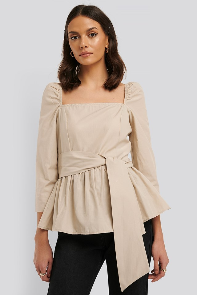 Front Tied 3/4 Sleeve Blouse Stone