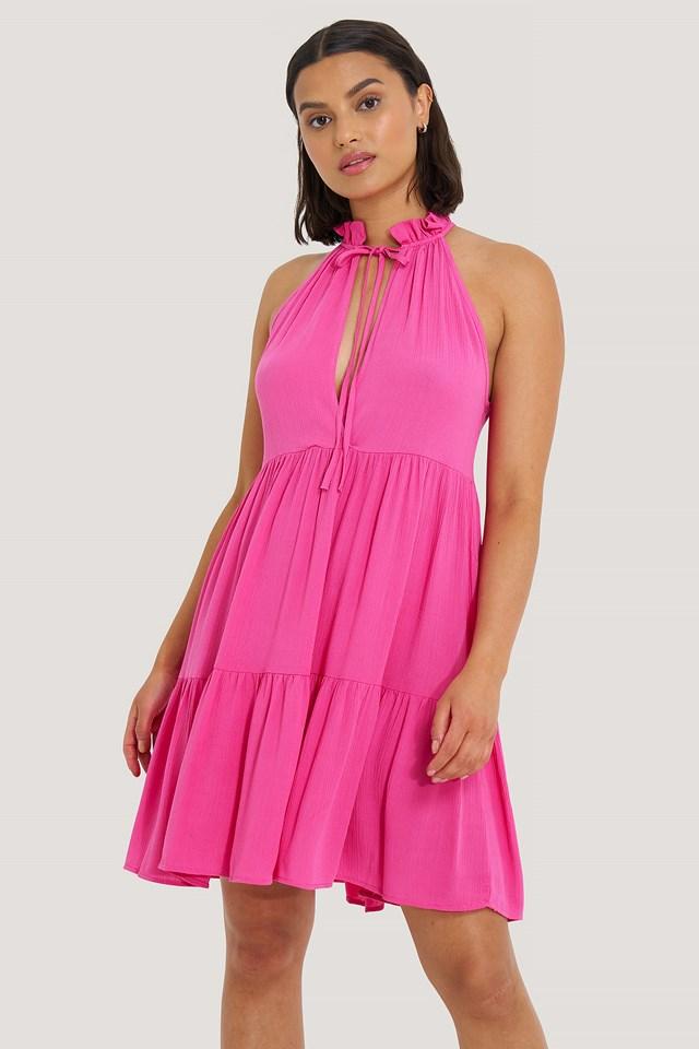 Halter Neckline Mini Dress Fuchsia