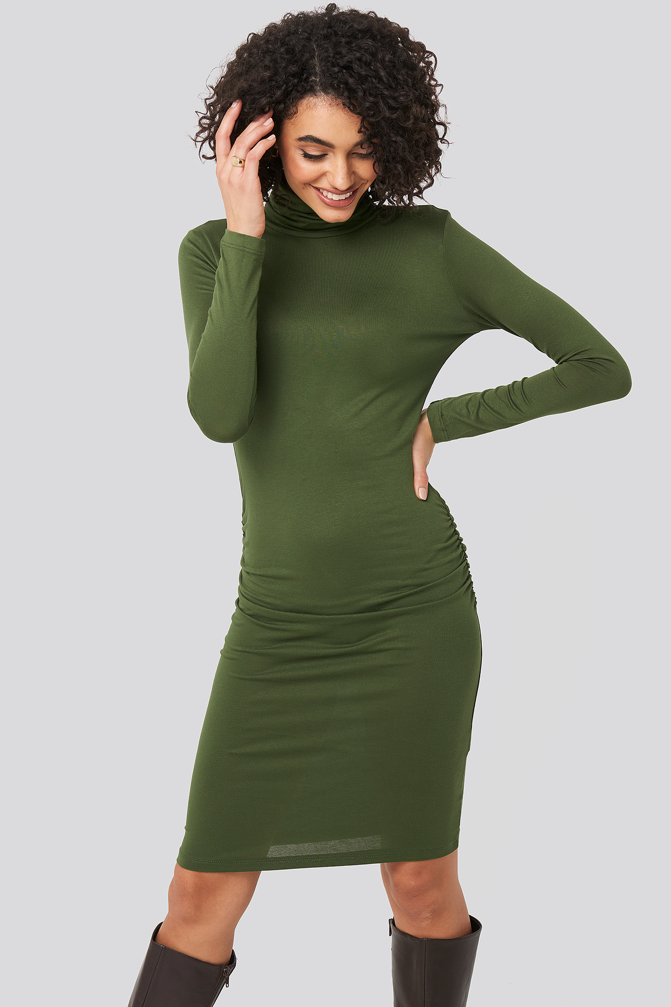 Khaki High Neck Mini Dress