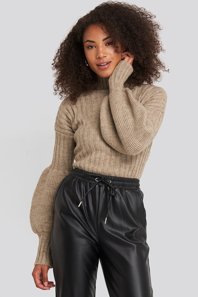 Stone High Neck Puff Sleeve Knitted Sweater