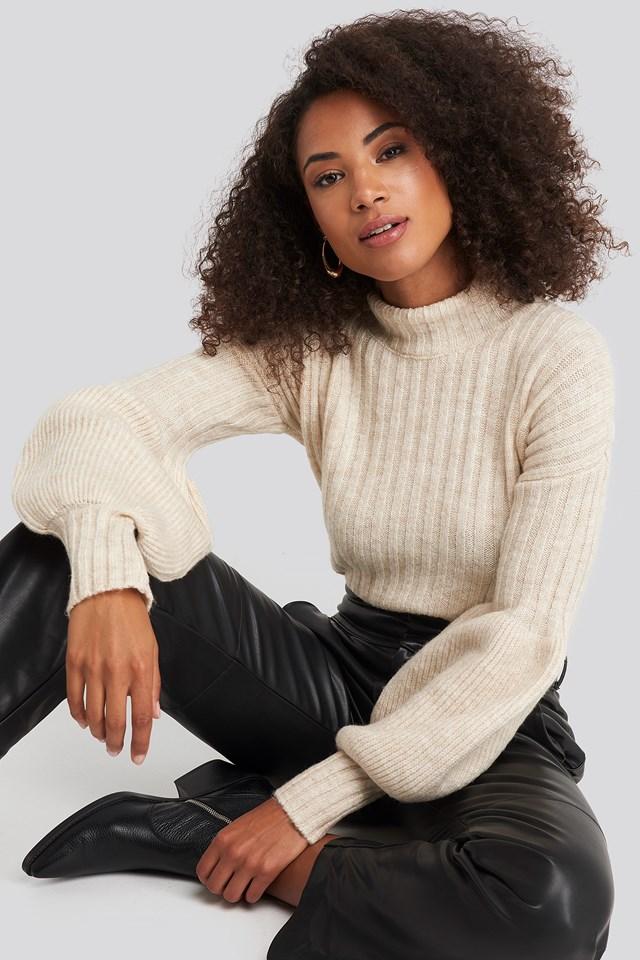 Sweter Z Bufiastymi Rękawami Beige