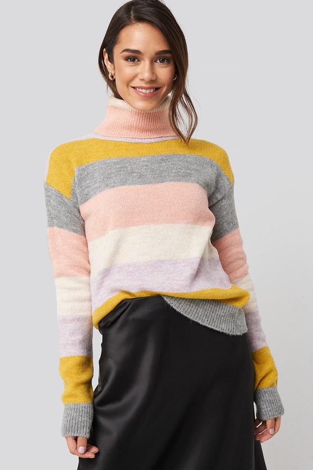 Ecru High Neck Striped Knitted Sweater