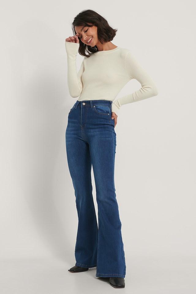 High Waist Flared Jeans Navy Blue