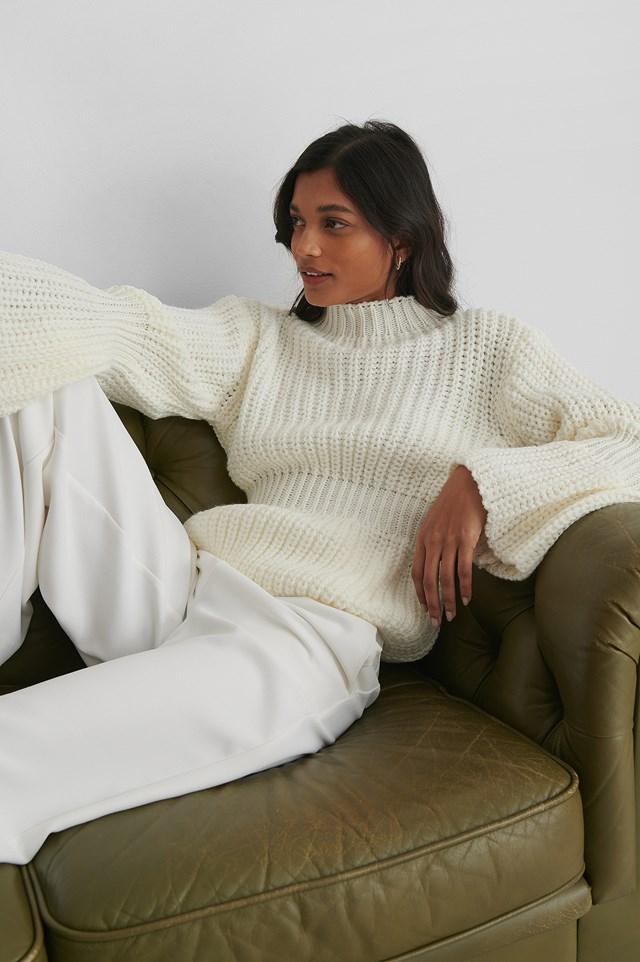 Ecru Knit Sleeve Detail Sweater