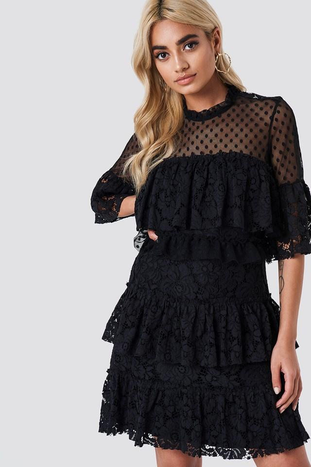 Lace Dot Mini Dress Black