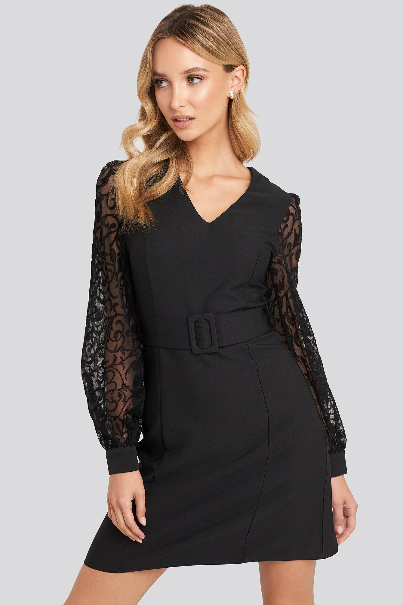 Black Lace Sleeve Detail Dress