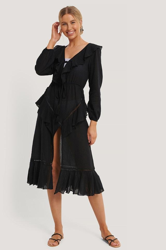 Black Suknia Plażowa Z HaftowanąWoalką