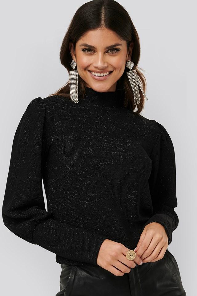 Lurex Knit Blouse Black