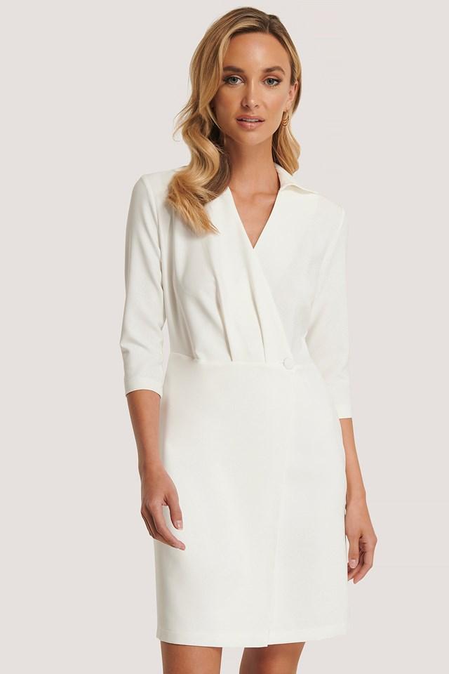 Milla Button Detailed Dress Ecru