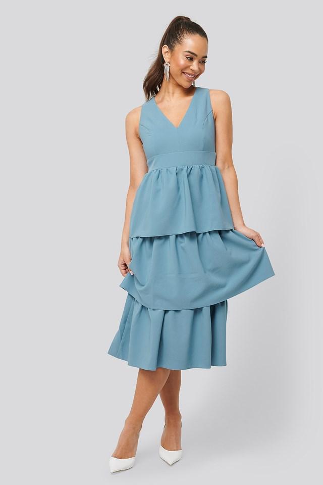 Neck Detailed Dress Indigo