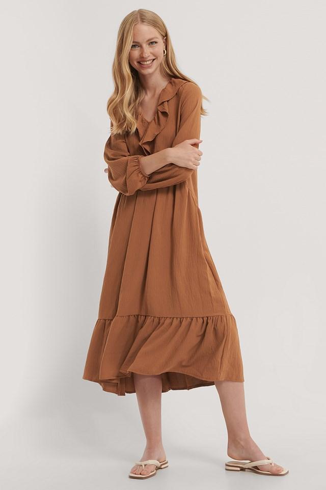 Neck Detailed Midi Dress Tobacco