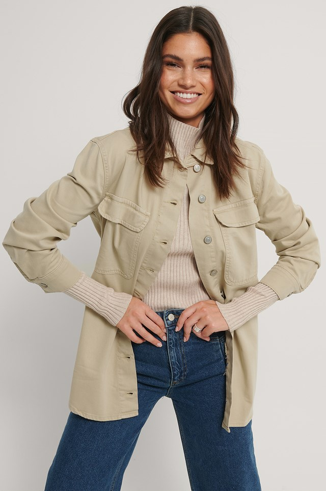 Oversized Denim Jacket Cream