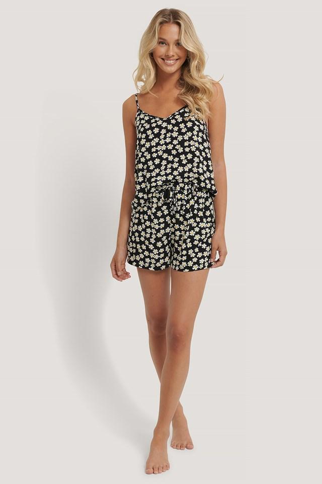 Black Pattern Pyjamas Set