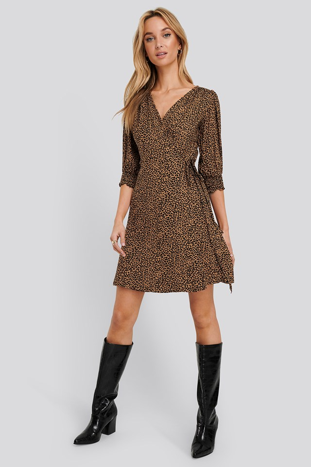 Brown Patterned Mini Dress