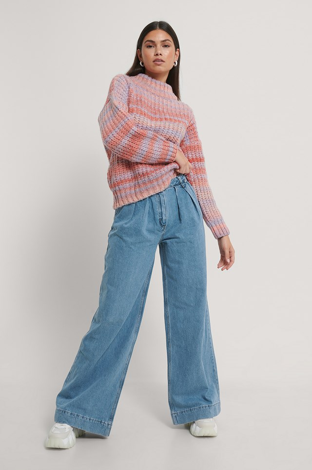 Pleated Wide Jeans Blue