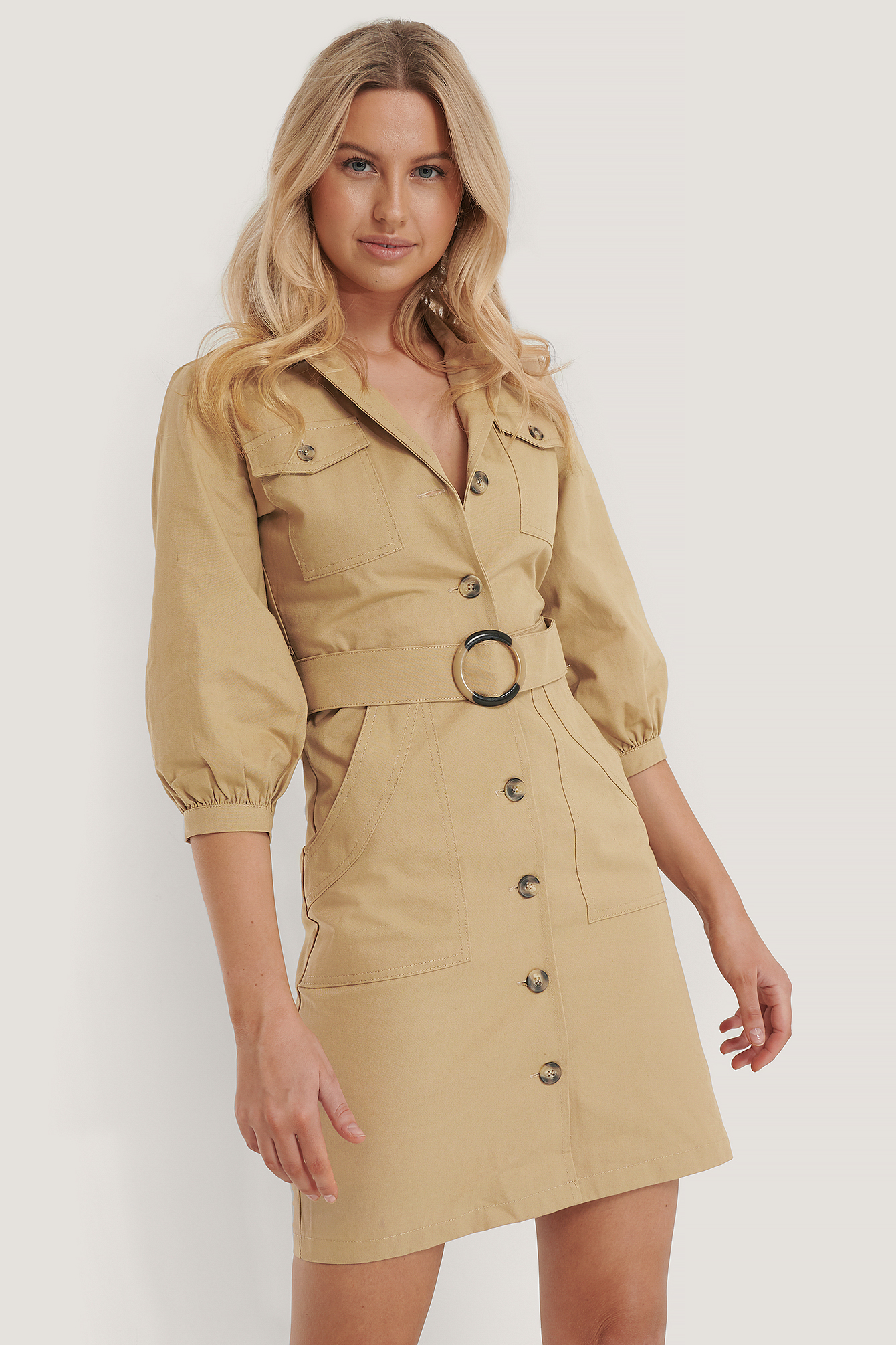Camel Puff Sleeve Belt Shirt Dress