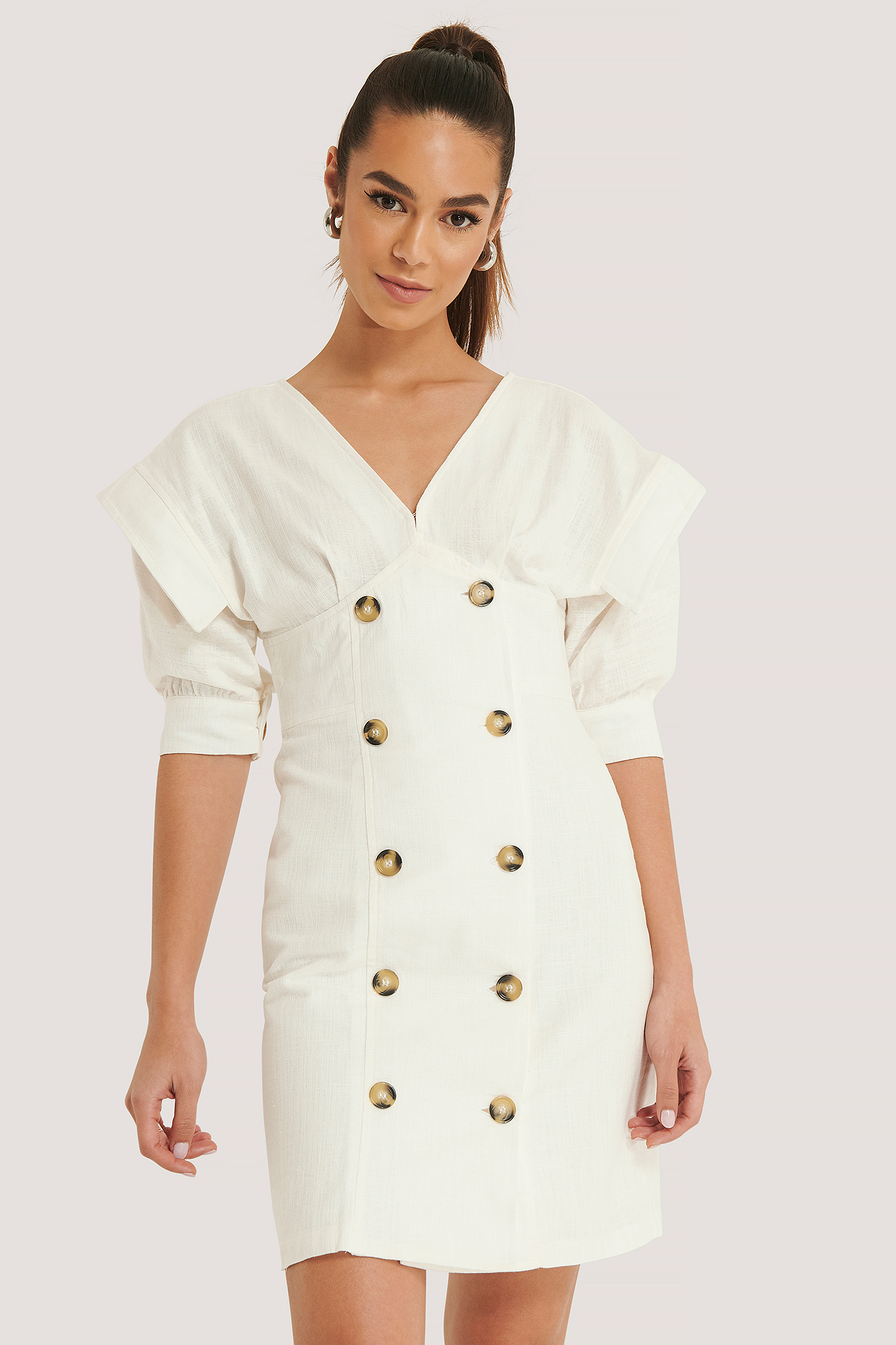 Ecru Puff Sleeve Button Detail Mini Dress