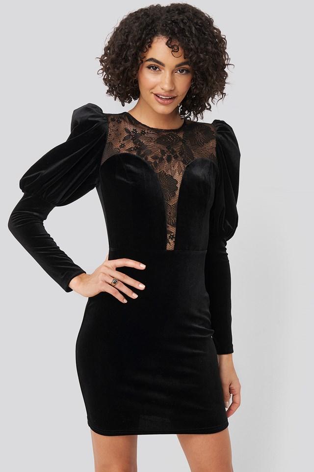 Black Aksamitna Bluzka Z Rękawami
