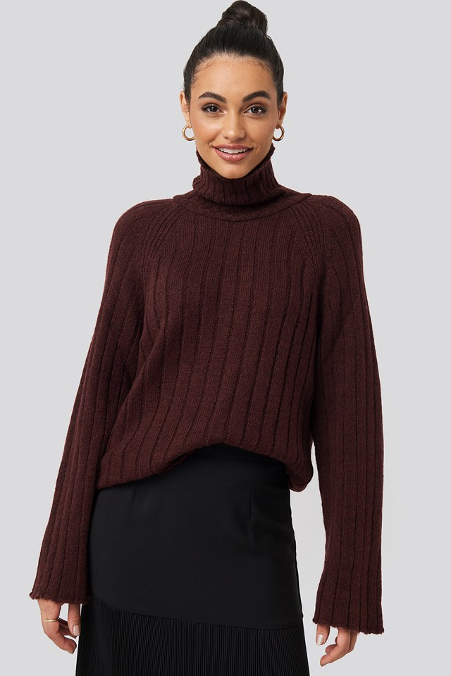 Burgundy Ribbed High Neck Knitted Sweater