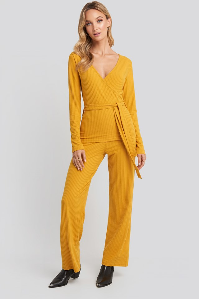 Ribbed Pyjama Set Mustard