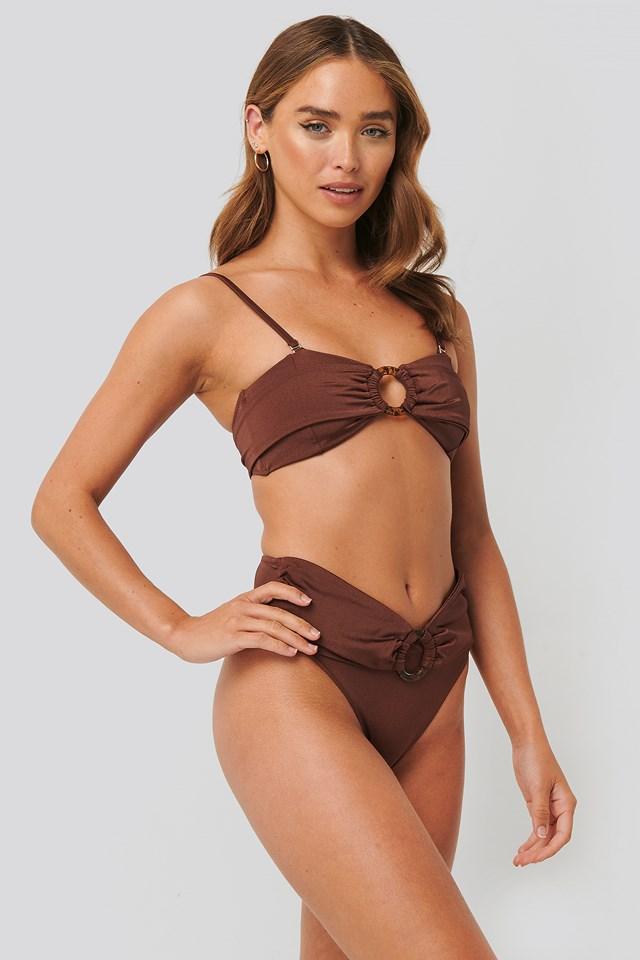 Ring Detail Bikini Bottom Brown