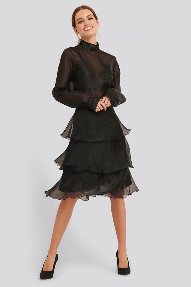 Black Ruffle Detail Skirt