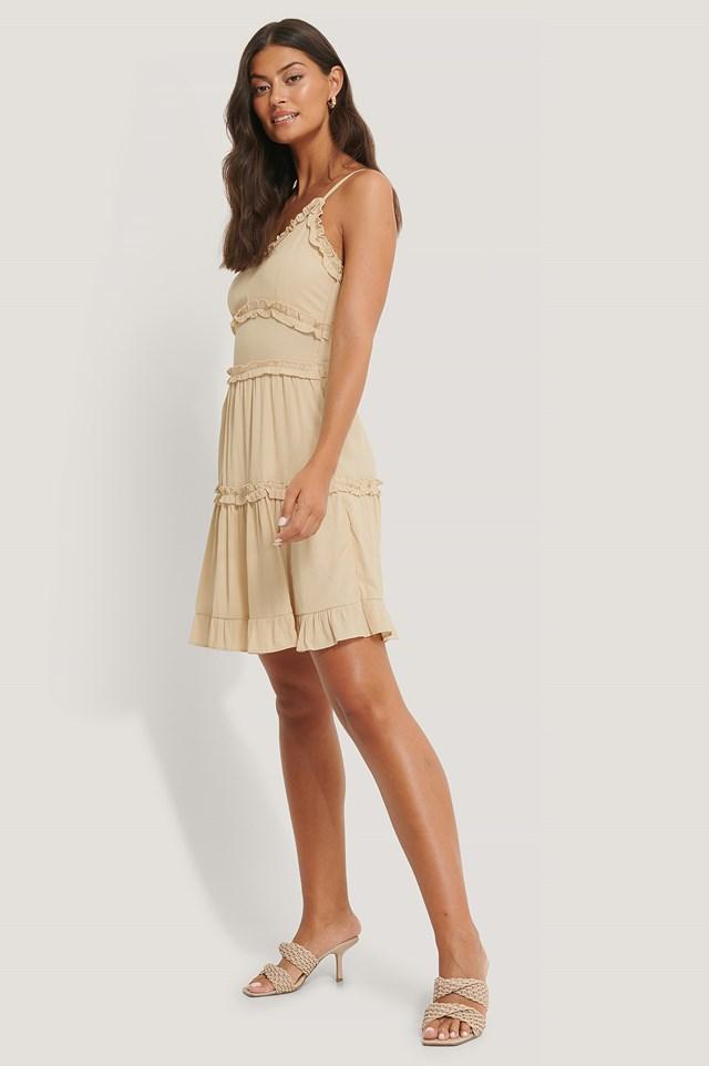 Ruffle Detailed Mini Dress Stone