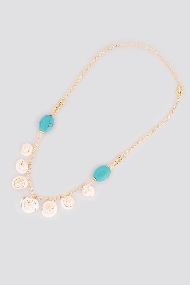 Seashell Binary Necklace Gold