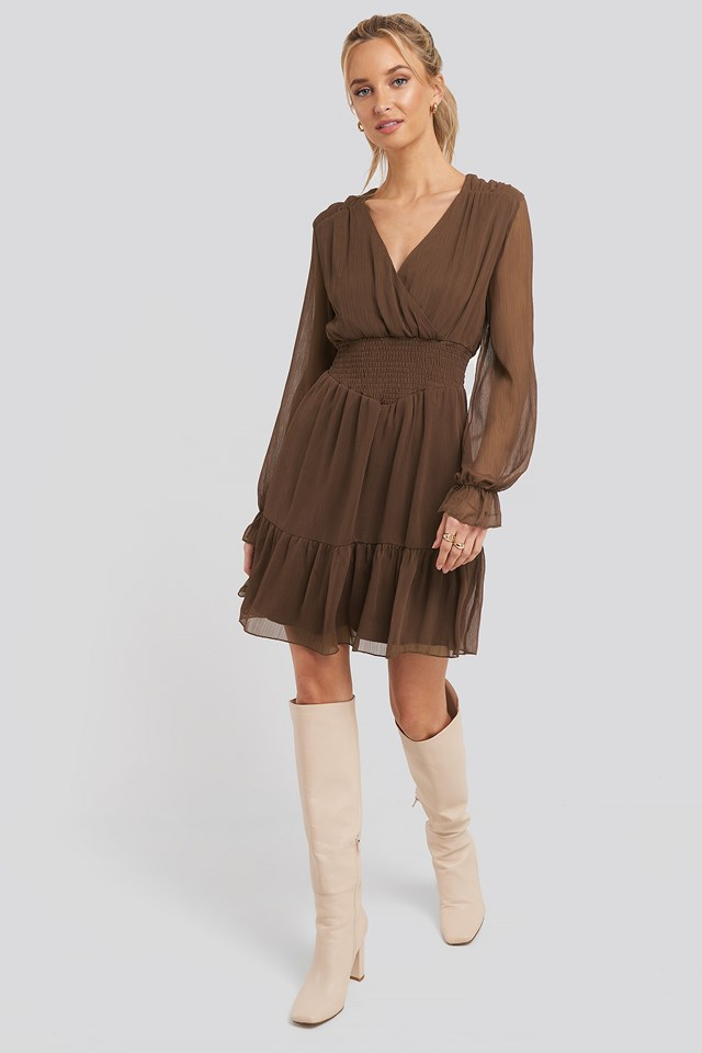 Shirred Dress Brown